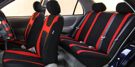 Full Car Seat Cover Set Luxury Sport Red For Car Suv Truck