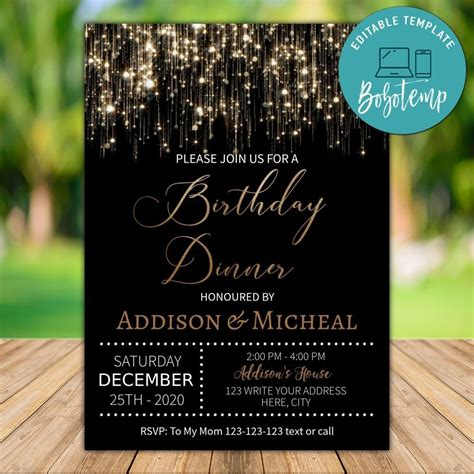 Printable Black and Gold Sparkle Glitter Birthday Dinner