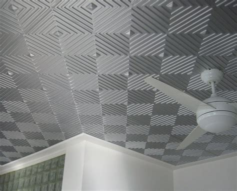 Gray Drop Ceiling Tiles by Awesome Gray Silver Ceiling Tile Idea With Cool Geometric