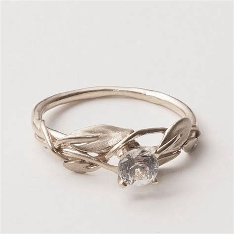 leaves engagement ring 18k white gold and