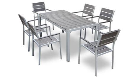 table et chaise exterieur table et 6 chaises giany en aluminium pour jardin