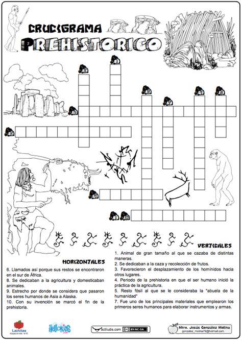 Crucigrama prehistórico Actividades escolares