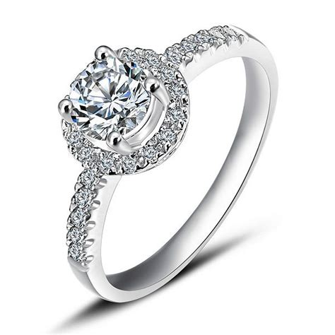 cheap halo engagement ring on white gold jeenjewels - Cheap Halo Engagement Rings