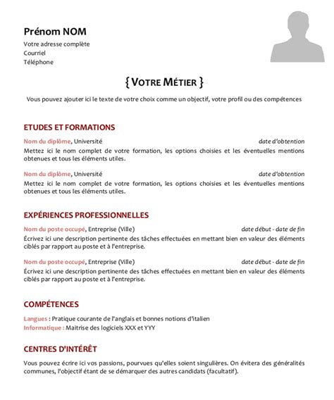 Cv Modele Francais by Model Cv Francais Simple Model De Cv Simple Gratuit Psco