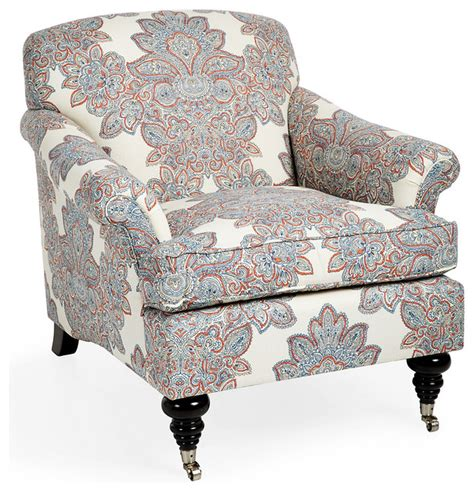 joplin paisley chair blue orange modern armchairs and