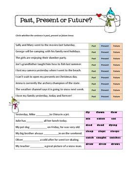 christmas tense verbs literacy center activity plus worksheets