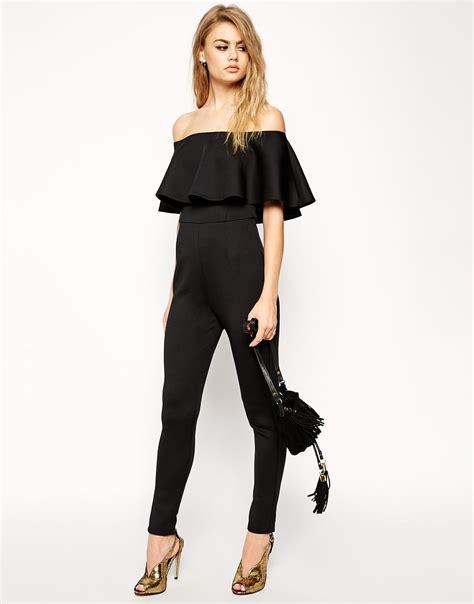 asos jumpsuit asos scuba jumpsuit with shoulder ruffle in black lyst