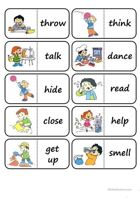 action words domino worksheet free esl printable worksheets made by teachers