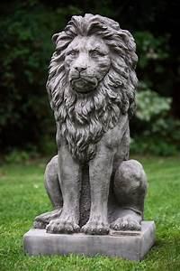 Large, Stone, Cast, Sitting, Lion, Ornaments, For, The, Garden