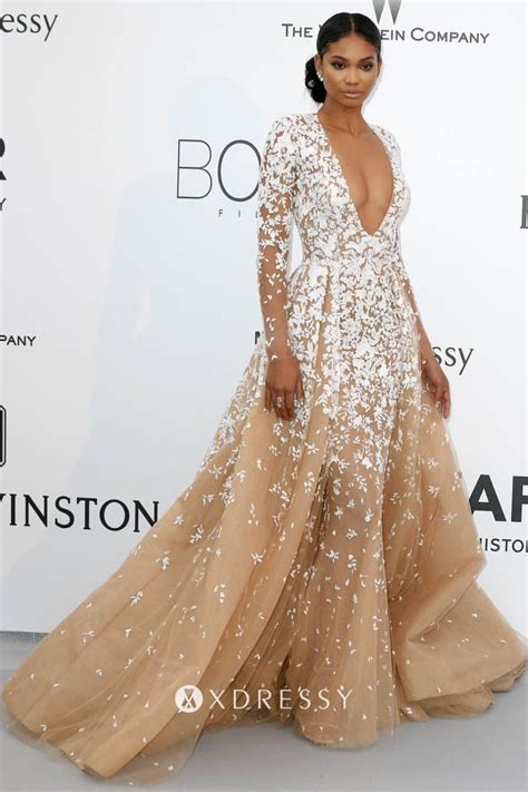 Chanel Iman Lace Appliqued Champagne Tulle Prom - Xdressy