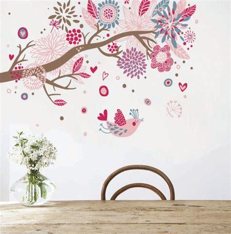 dessin mural chambre fille coloré bohémien arbre fleur par autocollants muraux