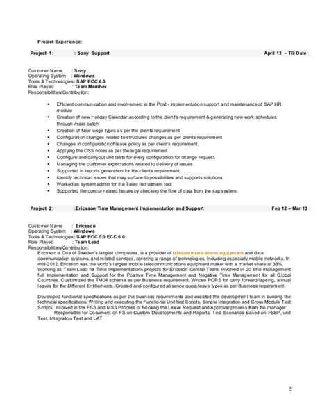 sap hr end user resume raghavendra varma sap hr resume