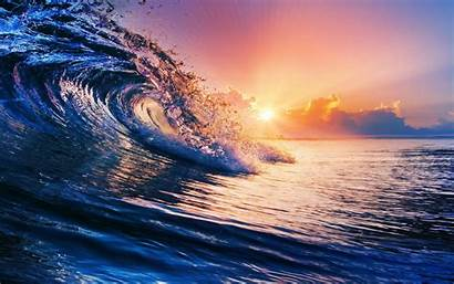 Waves Sunset Water Sea Colorful Nature Clouds