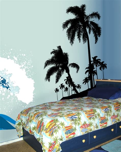 surfs  beach palms wall decal sticker