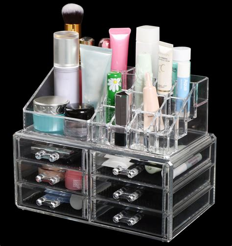 acrylic makeup drawers uk clear thick acrylic cosmetic organizer 6 drawers makeup