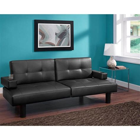 Futon Loveseat by Futon Sofa Bed Sleeper Split Back Faux Leather Adjustable