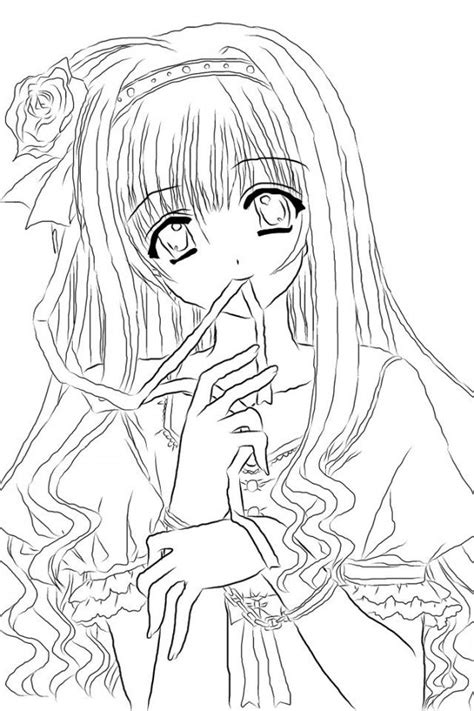 anime girl coloring nice stunning coloring pages cute images  anime girl coloring pages
