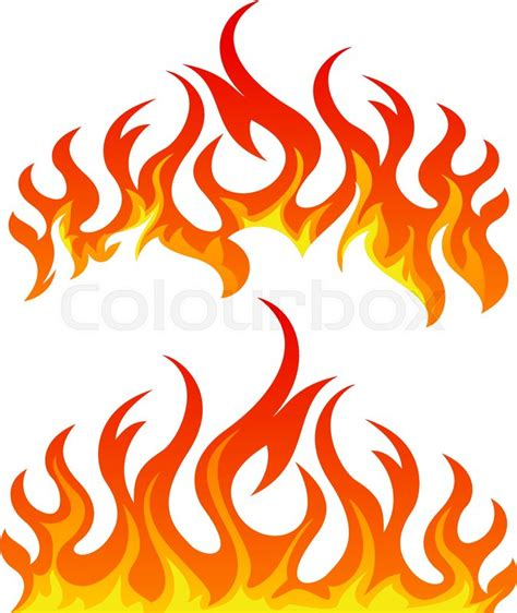 Fire flames vector set on white background   Stock Vector ...
