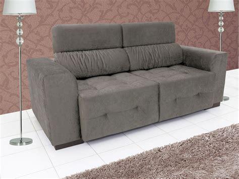 sofa retratil e reclinavel sofá retrátil e reclinável 3 lugares suede benito