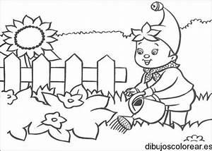 Dibujo de un duende en el jardín