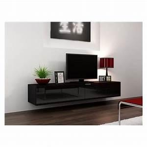 Meuble Sous Tv Suspendu : meuble tv design suspendu vito 180 noir achat vente meuble tv meuble tv vito 180 nr soldes ~ Teatrodelosmanantiales.com Idées de Décoration