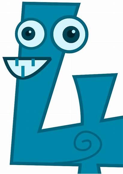 Four Number Cartoon Cliparts Clipart Clip Math