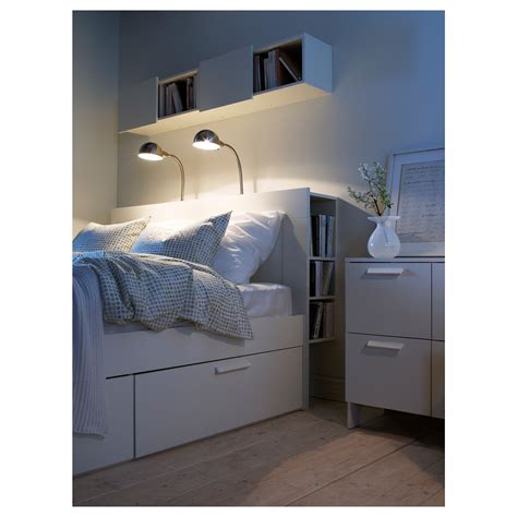 ikea brimnes headboard  storage compartment white