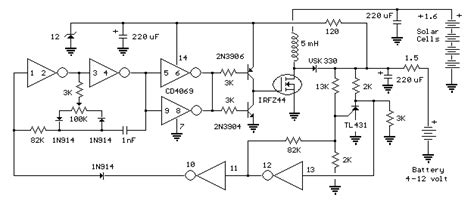 Solar Cell Boost Converter Power Supply Circuit
