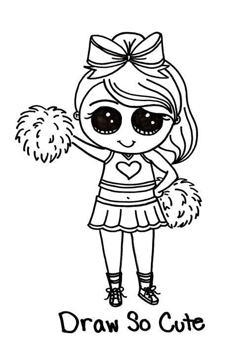 draw  cute cheerleader tipsy scribbles  picture
