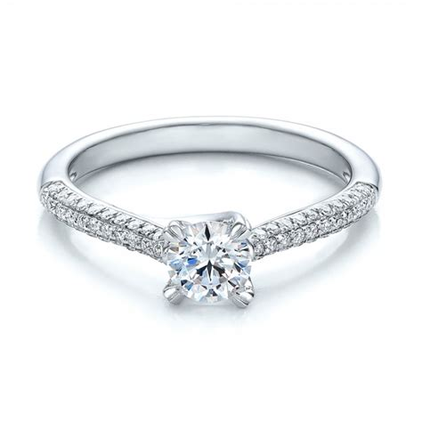contemporary pave set diamond engagement ring 100395