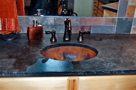 copper undermount kitchen sinks hammered copper undermount sink eclectic bathroom 5807
