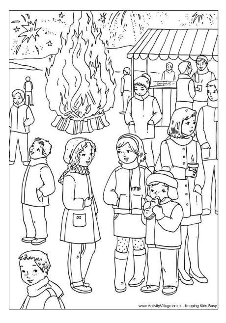 bonfire night colouring page bonfire night bonfire