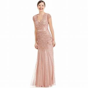 adrianna papell cap sleeve embellished gown in pink blush With adrianna papell wedding dresses