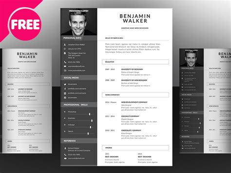 clean resume template free psd free psd ui download
