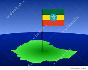 Illustration Of Map Of Ethiopia With Flag