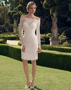 women 2016 long sleeve off shoulder knee length sheath With short lace wedding dresses