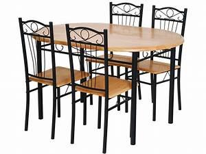 Ensemble Table 4 Chaises QuotSALLYquot Noir 52767