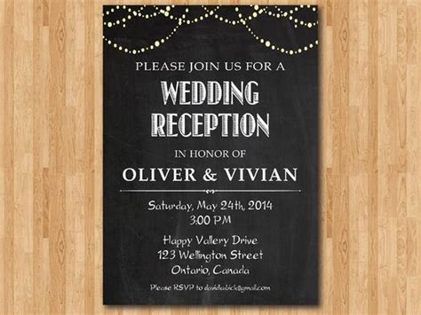 Wedding Reception Invitation. Reception Invite. Chalkboard