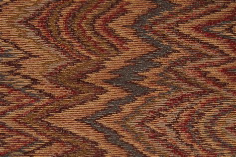 Alba Flamestitch Tapestry Upholstery Fabric In Lagoon