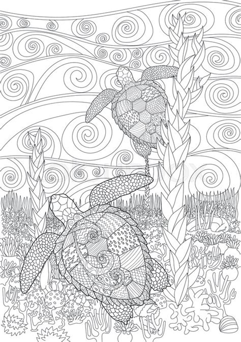 swimming sea turtle  anti stress coloring page