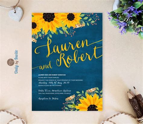 Dark blue chalkboard wedding invitations with sunflowers