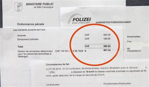 tarif amende excès de vitesse amende suisse auto titre