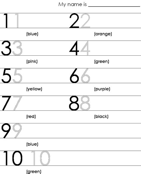 print numbers 1 10 pre k worksheets phonics literacy