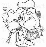 Pig Bbq Apron Clipart Wearing Designs Royalty sketch template