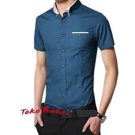 jual beli baju kemeja pria lengan pendek slimfit biru