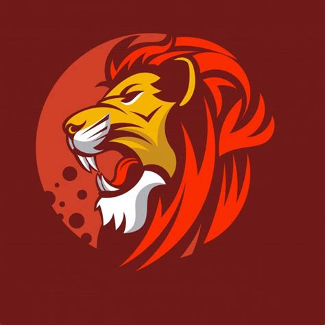 lion animal mascot head vector illustration logo