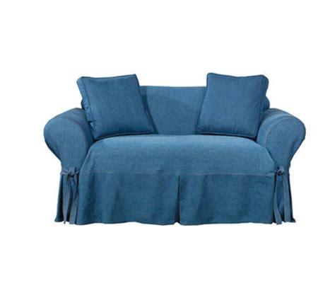 denim sofa cover sure fit indigo denim sofa slipcover qvc