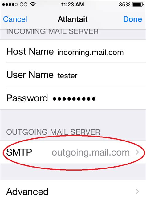 change incoming  outgoing mail server port settings