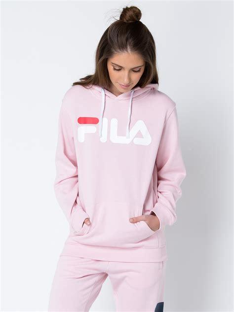 drawcord hoodie fila heritage classic hoodie in pink
