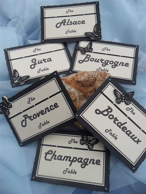 wine regions themed wedding table names black by